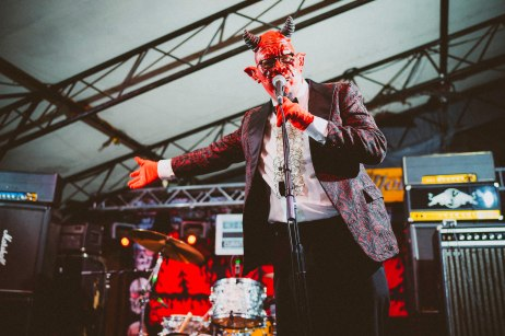 Comedian, Satan, announces the performances at Red Bull Sound Select, in Austin, TX, USA, on 5 June, 2015.