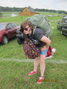 A turtle I found on the trek from the car to the festival site / My friend, Chelsea.