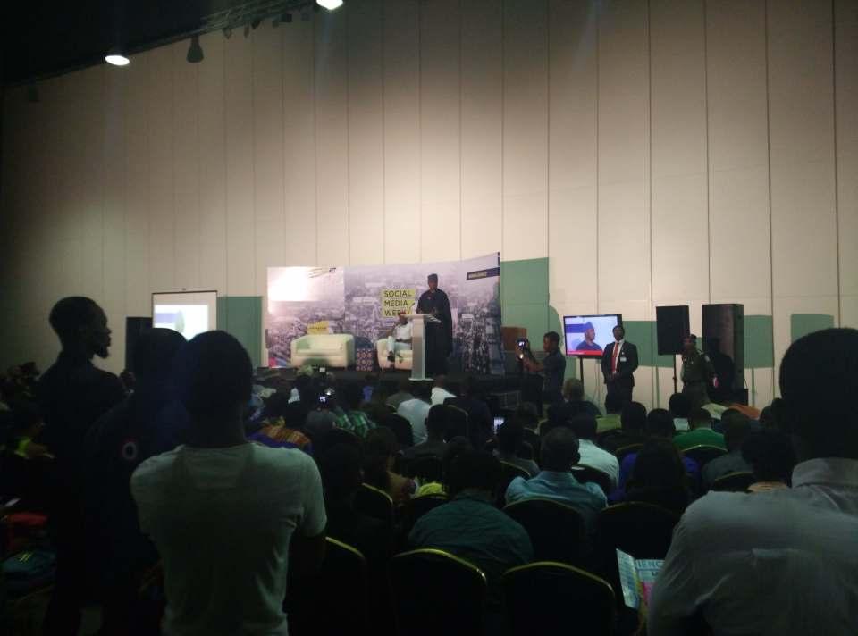 Senate President Bukola Saraki giving a speech at the #SMWLagos 2016