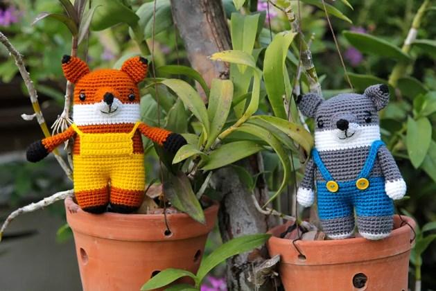 crochet fox and crochet wolf