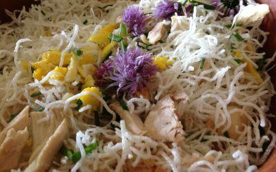 vermicelles de riz au poulet et aux St Jacques