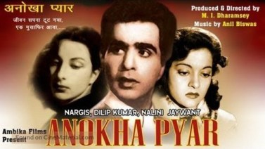 Photo: Movie Poster of Anokha Pyar (1948) – featuring Dilip Kumar (centre) with Nargis (left) and Nalini Jaywant (right)
