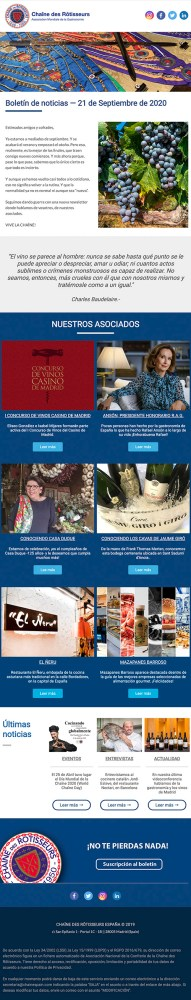 Chaîne des Rôtisseurs España - Newsletter Septiembre 2020