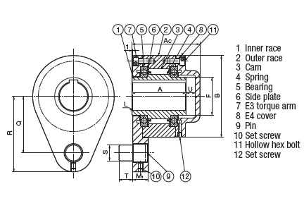 Item # MZEU50E3+E4, MZEU-50 mm Bore Cam Clutch On U.S