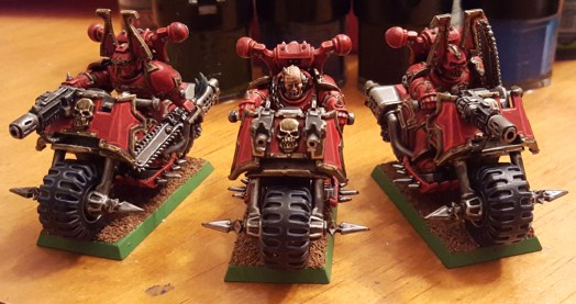 Near finished Khorne bikers