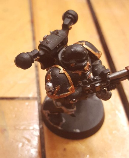 Close up of Black Legion marine with flamer