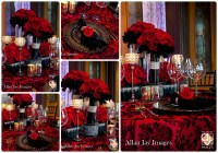 Black And Red Wedding Table Decorations Photograph | red and
