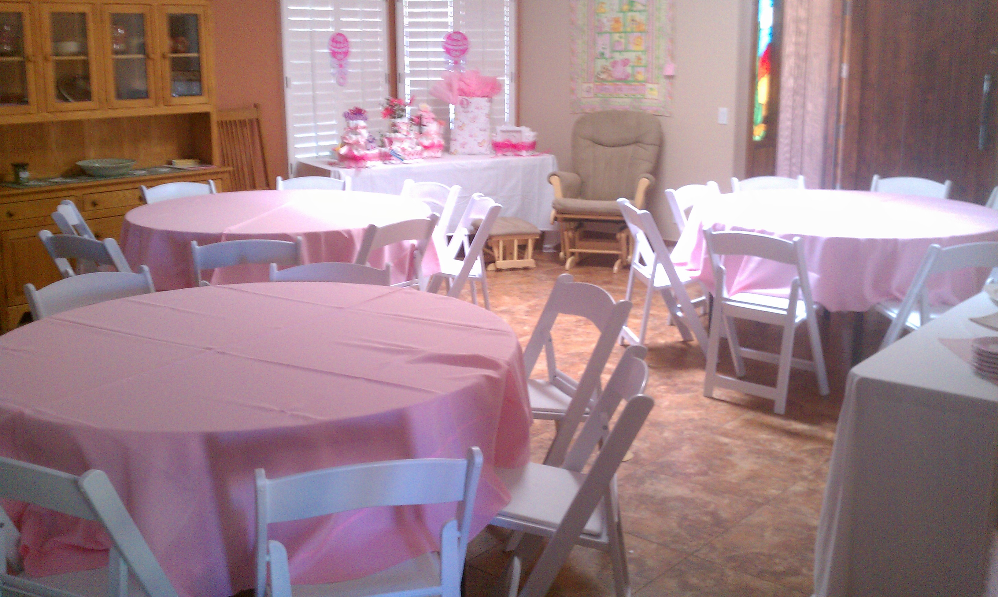 Where Can I Rent Tables And Chairs Tables Chairs Pink Linens Baby Shower Royalty Rentals