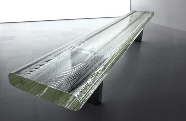 Waterfall Glass Bench by Tokujin Yoshioka