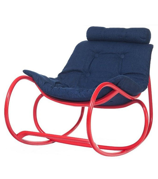 Red and Blue Wave Chair by by Michal Riabic for Ton