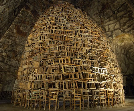 Chair Installation of Recycled (Upcycled) Chairs