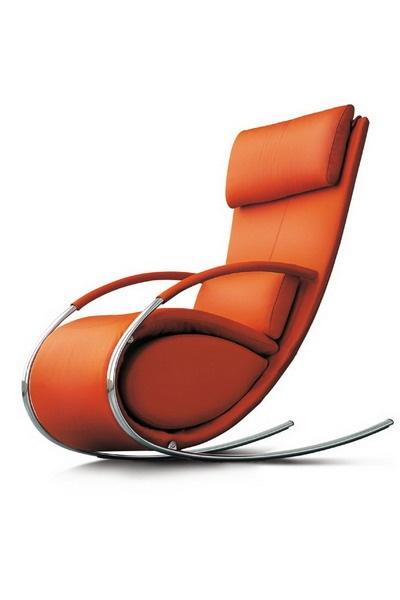 Orange Leather and Chrome Tubular Rocking Chair  Chairblogeu