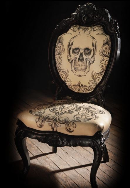 skull chair patio table and cover tattooed by scott campbell chairblog eu