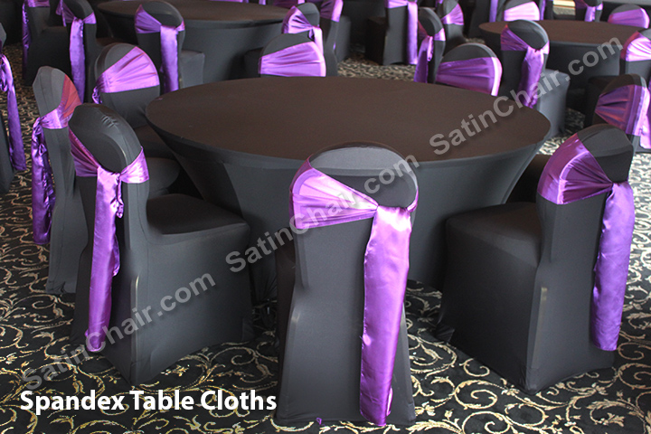 rent spandex stretch chair covers purple satin sashes