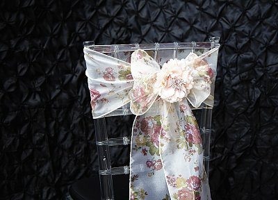 blush chair sashes uk seat covers near me vintage floral print organza of yorkshire silk sash pink