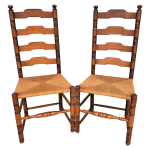 Vintage Rustic French Farmhouse Ladder Back Dining Accent Rush Seat Chairs Set Of 2 Chairish