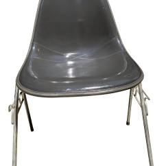 Fiberglass Shell Chair White Leather Computer Herman Miller Eames Naugahyde Chairish