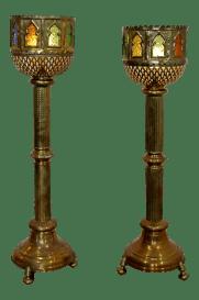 Mid Century Modern Bohemian Moroccan Brass Floor Lamps A Pair Chairish