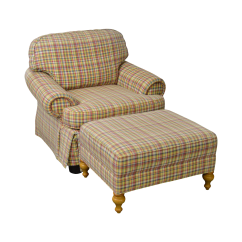 Tartan Dining Chair Covers For Sale Swing Olx Lahore Wesley Hall Plaid Upholstered Club W Ottoman Chairish