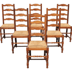 Rush Seat Chairs Wedding Chair Covers Wholesale Uk Early 20th Century Vintage French Country Solid Walnut Dining Set Of 6 Chairish