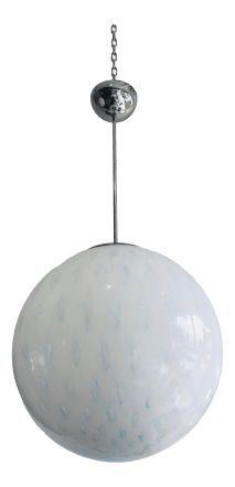 Italian Cased Murano Glass Blue And White Globe Pendant Light Fixture Chairish