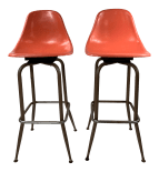 Mid Century Modern Swivel Orange Shell Bar Stools A Pair Chairish