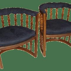 Mid Century Barrel Dining Chair Wood Club Vintage Chairs Pair Chairish