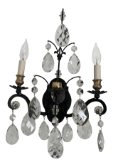 18th Century French Black And Crystal Sconce Chairish