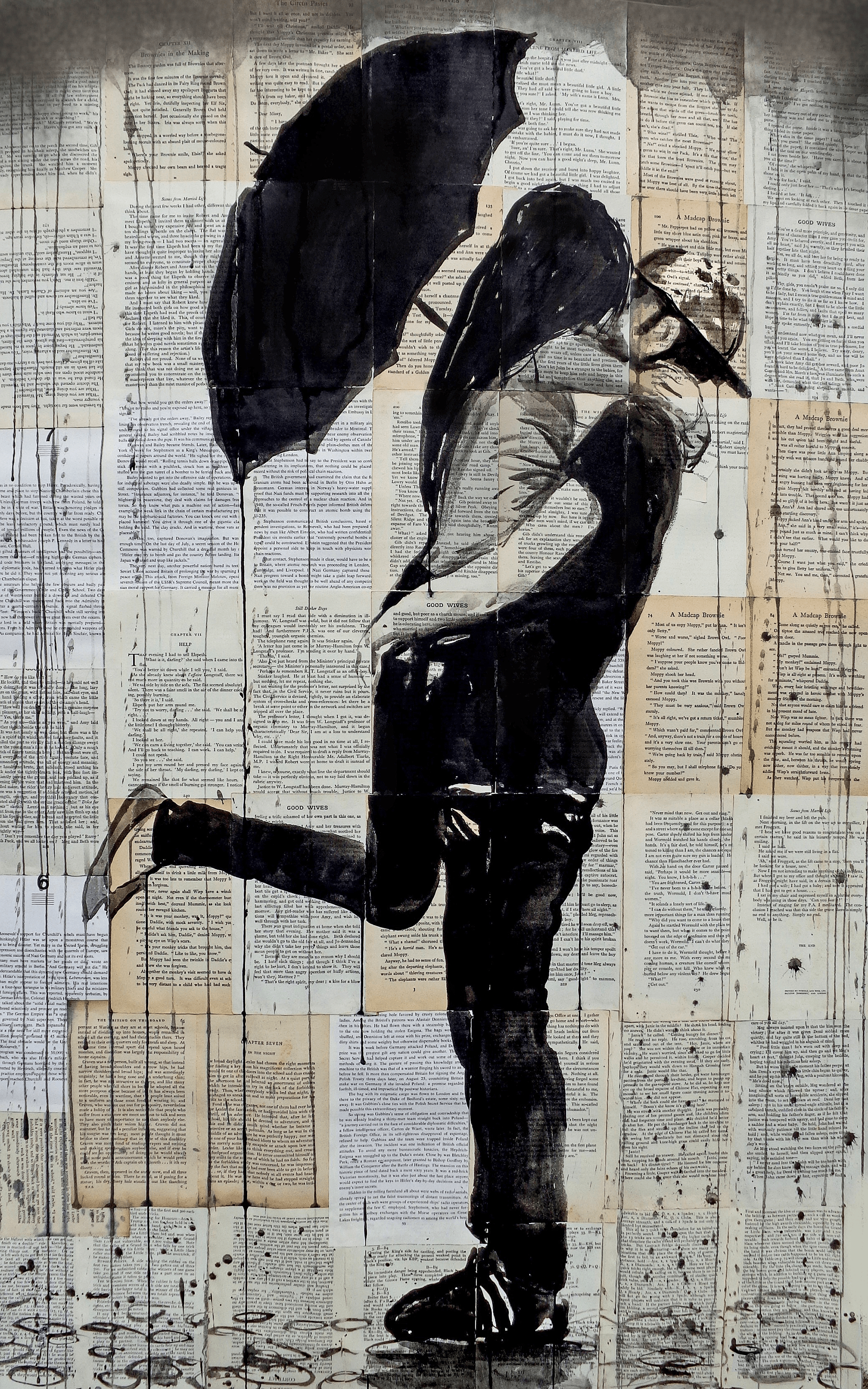 where to buy outdoor rocking chairs home depot stacking chair covers loui jover art print - rainy day young love | chairish