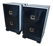 1950s Asian Modern Black And White 3 Drawer Nightstands A Pair