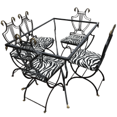 Wrought Iron Dining Chairs Swivel Office Chair Base High End Art Deco Italian Lyre Swan Set 5 Table By Copelon Decaso