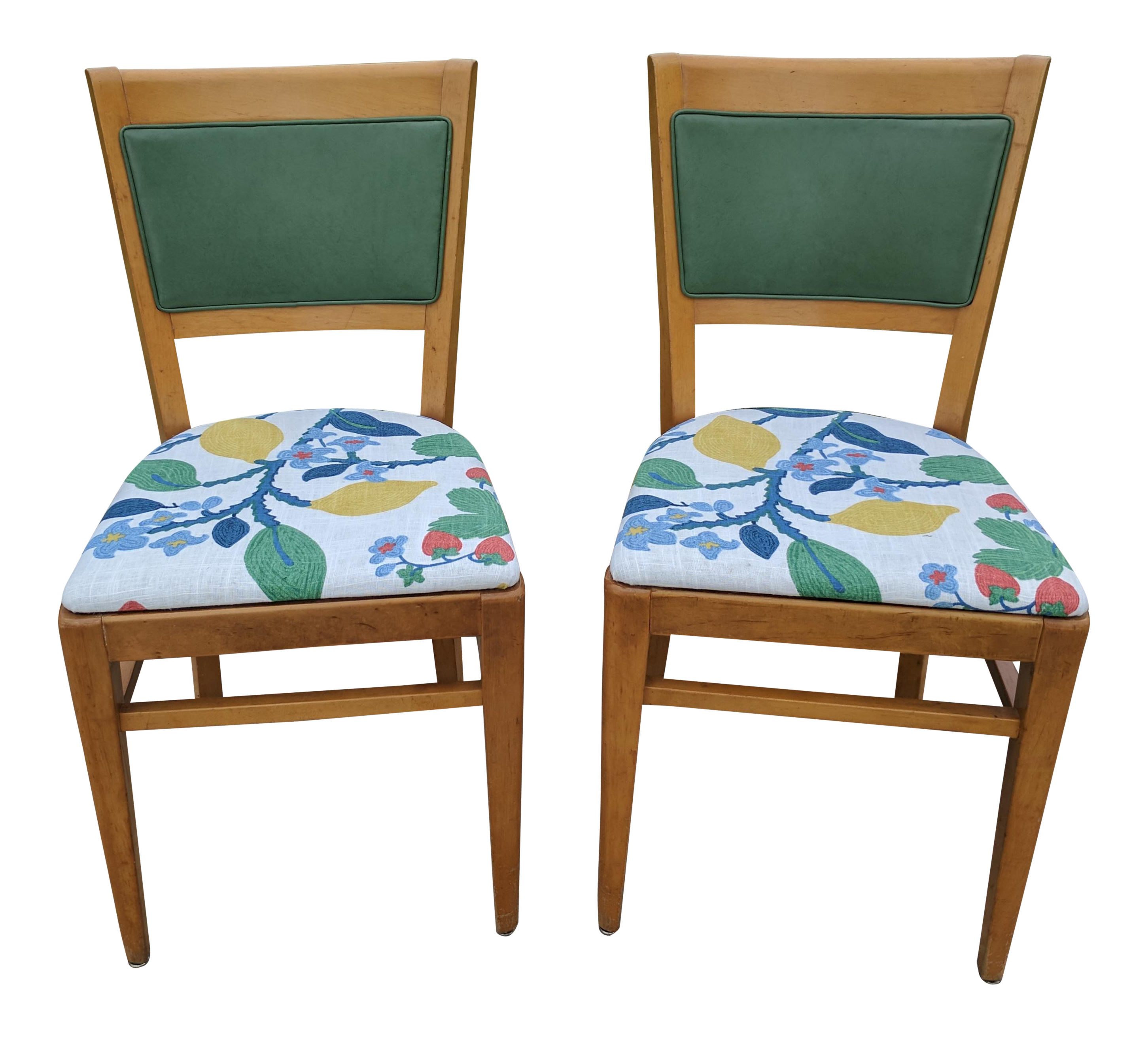 Green Upholstered Chair A Pair 1950s Thonet Green Leather And Madcap Cottage Fabric Upholstered Chairs