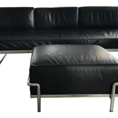 Lc3 Sofa Palliser Leather Reclining Le Corbusier And Matching Cassina Ottoman 2 Pc Set Chairish