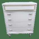 Vintage Bassett Mid Century Modern White And Gold Chest Of Drawers Dresser Chairish