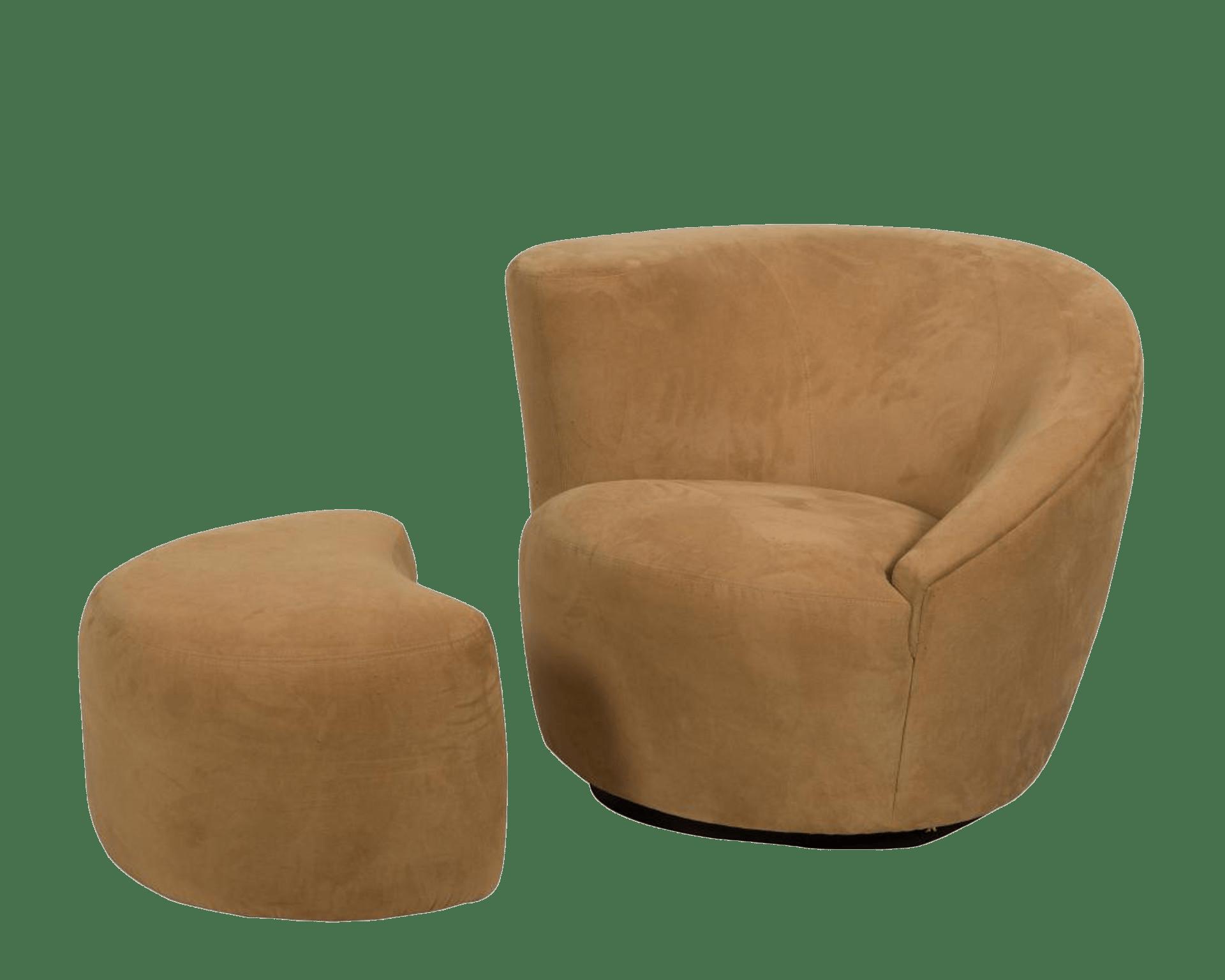 swivel club chair xl zero gravity with canopy footrest vladimir kagan nautilus corkscrew and ottoman chairish