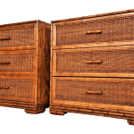 Vintage American Of Martinsville Wicker Faux Bamboo Nightstands A Pair Coastal Tropical Boho Chic Bohemian Mid Century Modern Chairish