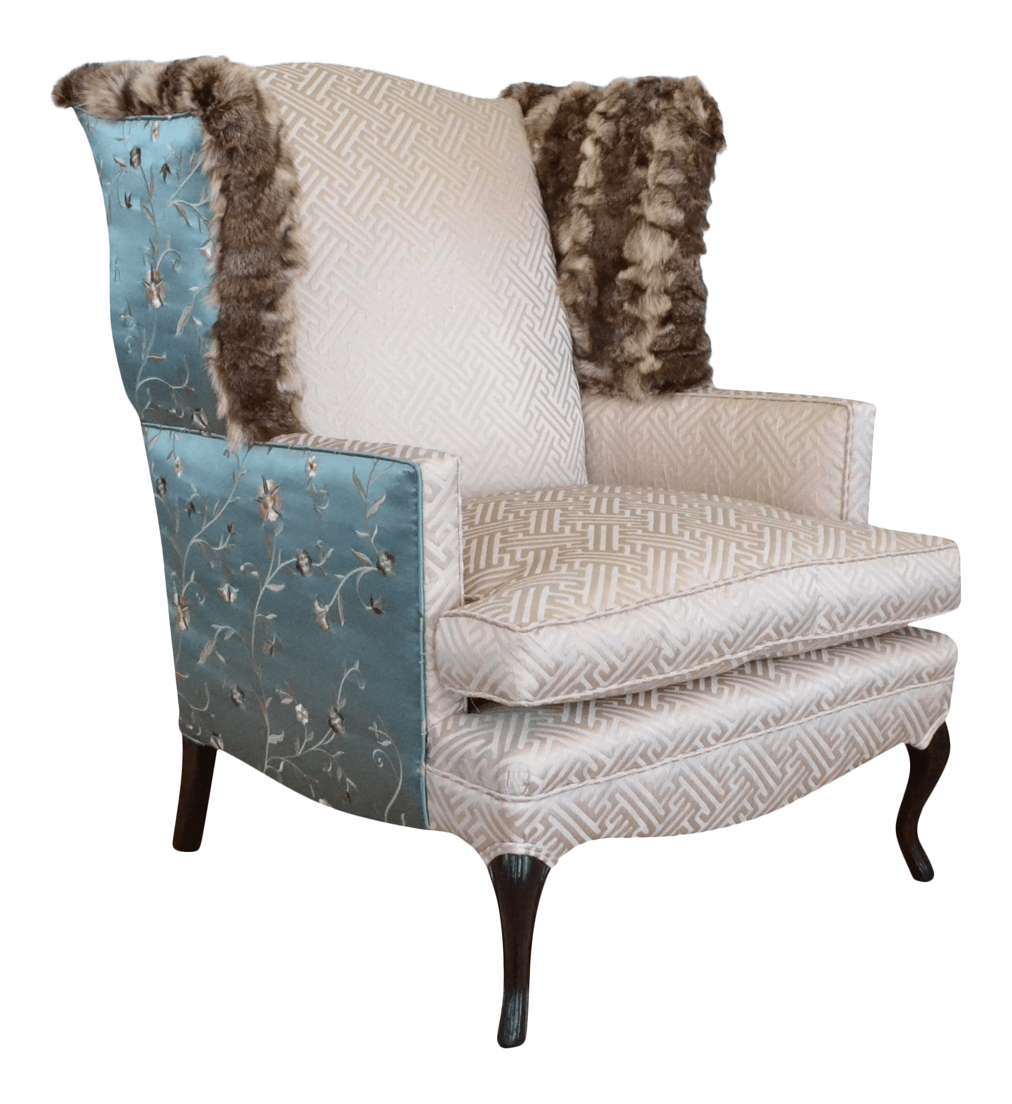 Teal Wingback Chair Silk Fur Teal Champagne Wingback Chair