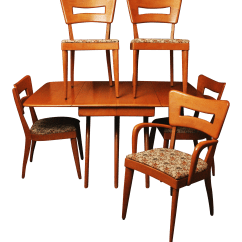 Heywood Wakefield Dining Table And Chairs Two Seat Set Wishbone 5 Dogbone
