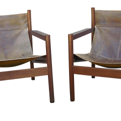 Leather Sling Chairs Office Chair Base Kit Mid Century Modern Michel Arnoult Roxinho And A Pair Chairish