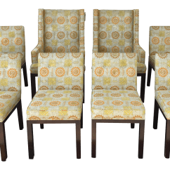 Yellow Upholstered Dining Room Chairs Inexpensive Desk And Orange Floral Set Of