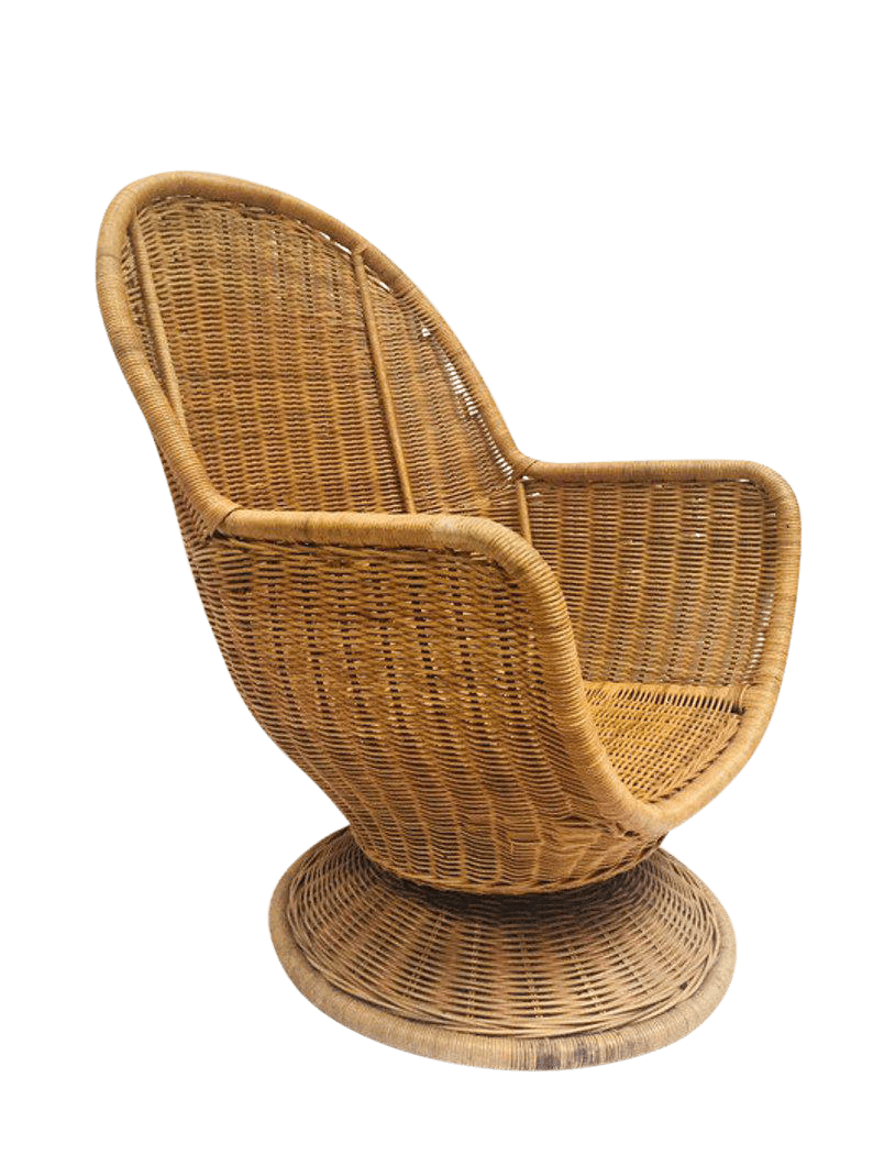 Egg Wicker Chair 1980s Vintage Sculpted Rattan Egg Chair Swivel Wicker Club Chair