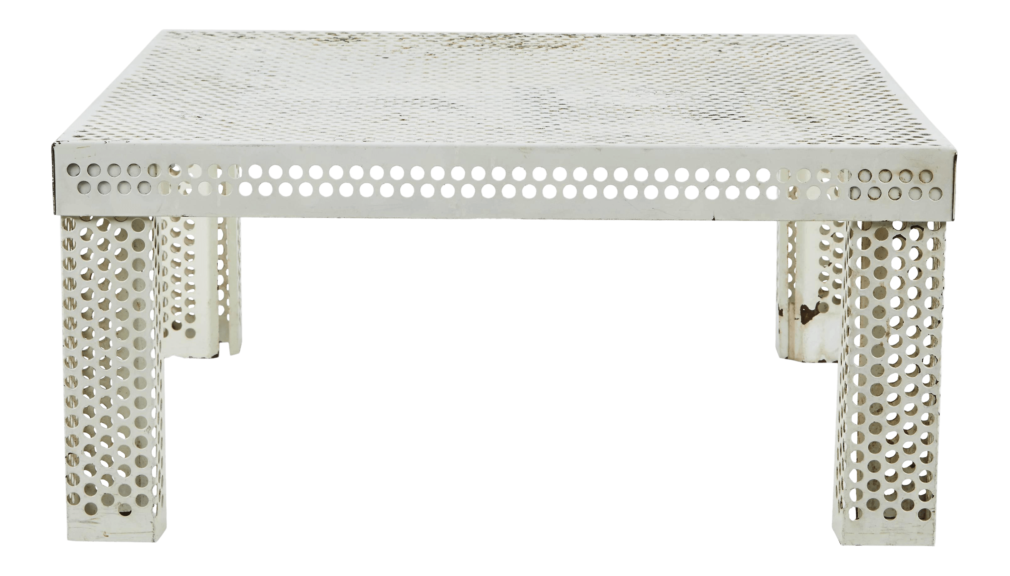 mathieu mategot style perforated white metal coffee table