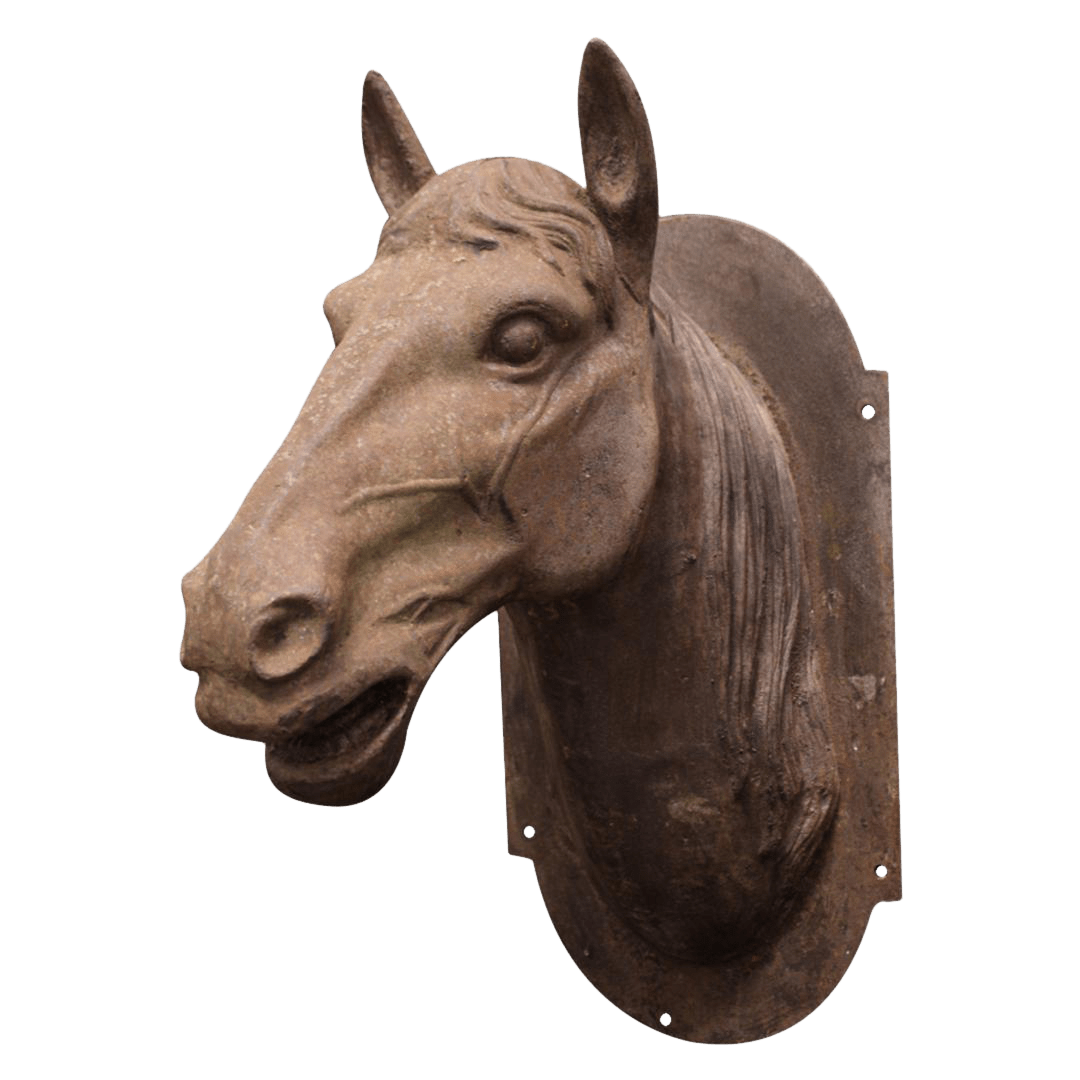 outdoor furniture sofa sectional plush cover cast iron horse head sculpture | chairish