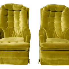 Green Velvet Swivel Chair Leather Bergere And Ottoman Mid Century Modern Tufted Chairs A