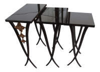 Mahogany Camelias Nesting Tables - Set of 3 | Chairish