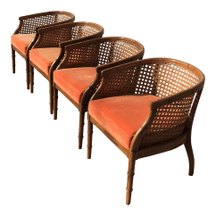 Mid Century Cane Barrel Chair Modern Orange Accent Chinoiserie Faux Bamboo Chairs Set Of 4 Chairish
