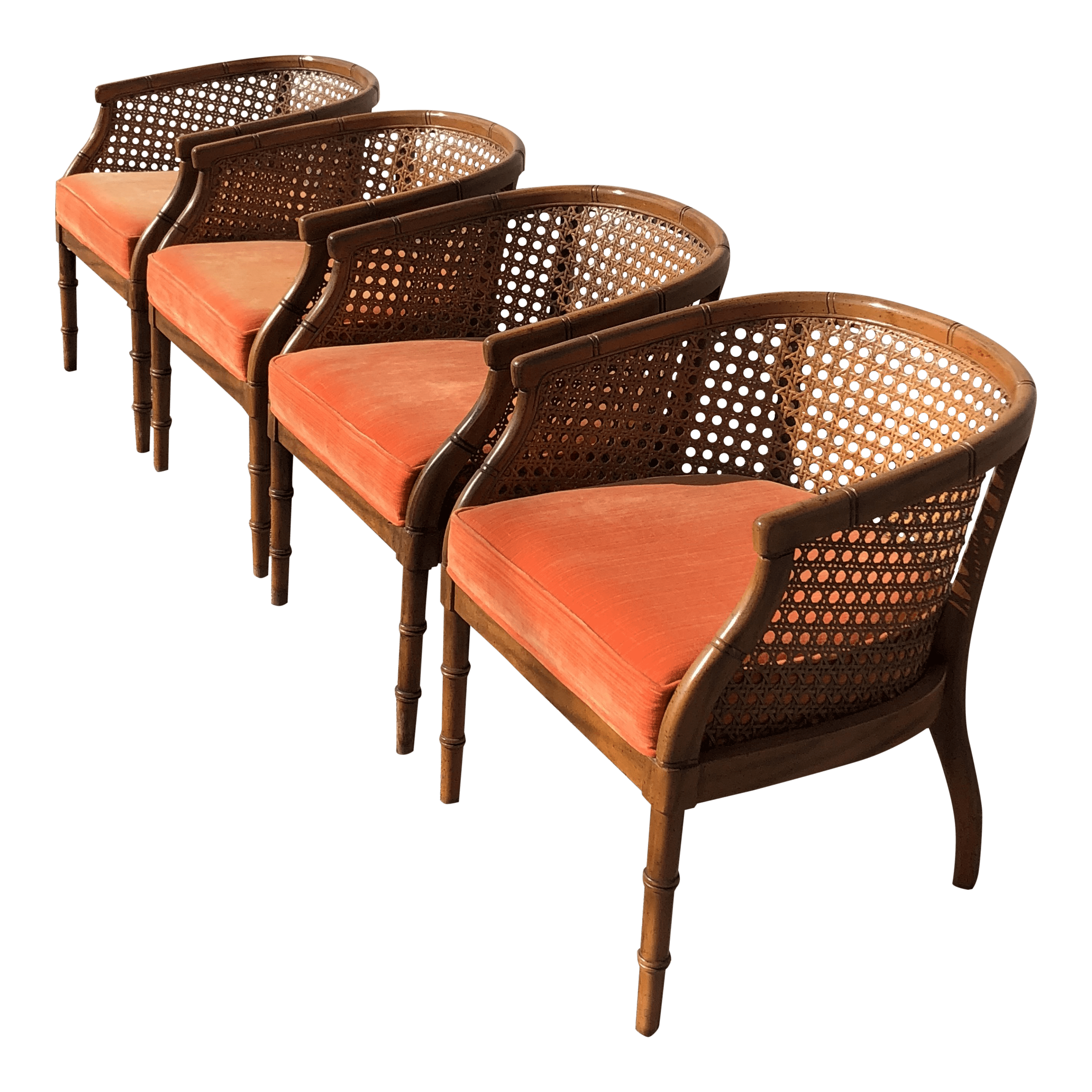 mid century modern cane barrel chairs chair covers walmart canada chinoiserie faux bamboo set of 4 chairish