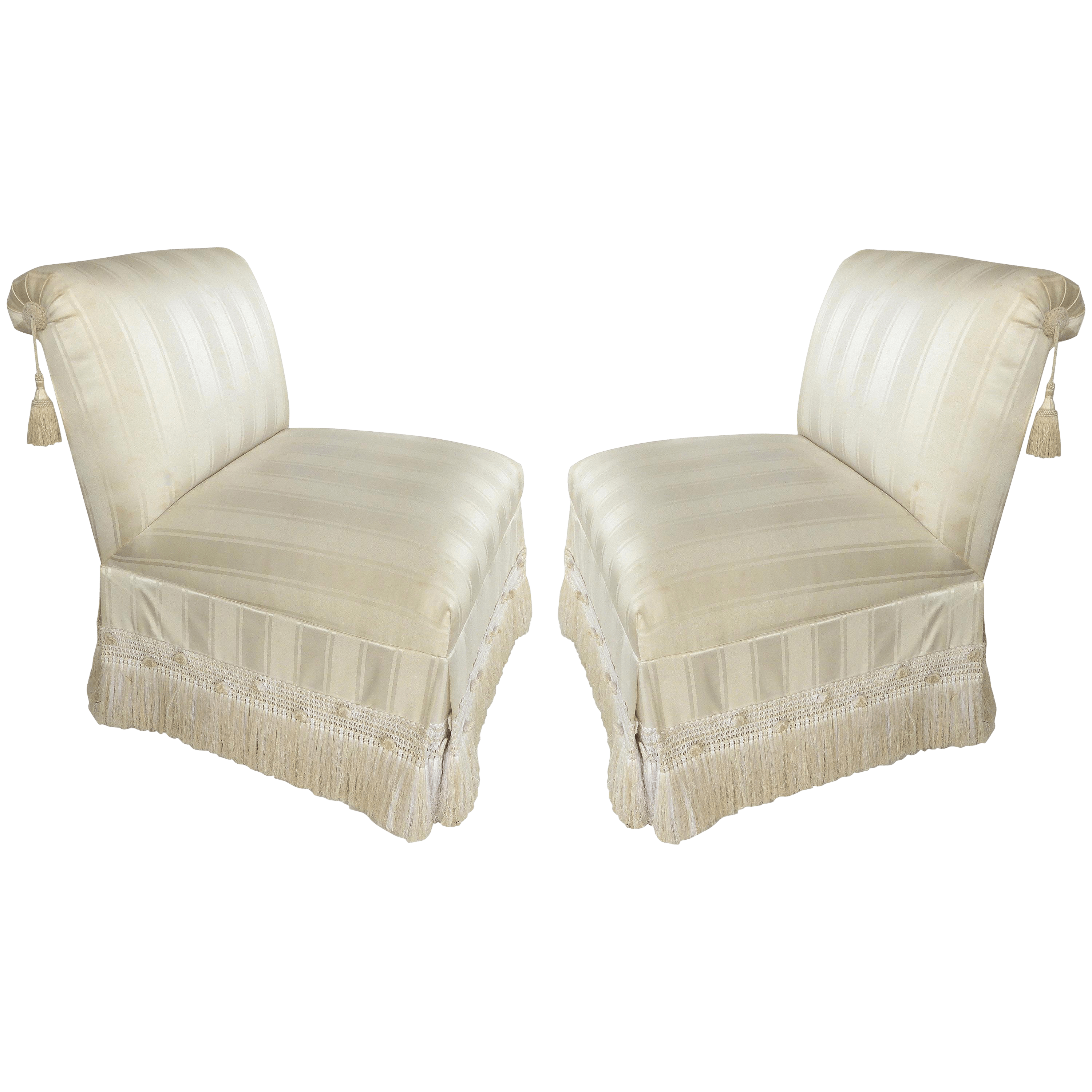 Custom Upholstered Slipper Chairs With Trim And Tassels Pair