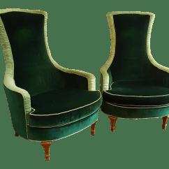 Emerald Green Velvet Chair What Is An Ergonomic Club Chairs A Pair Chairish