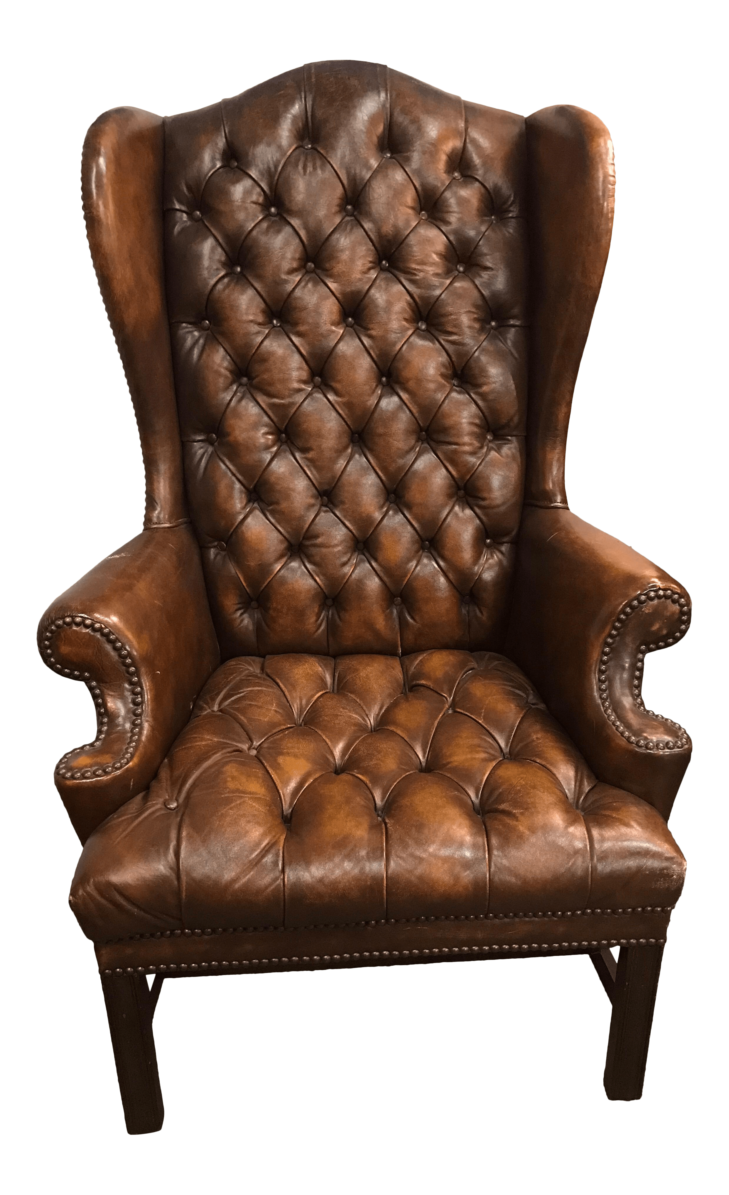 Brown Leather Wingback Chair English Brown Leather Tufted Chesterfield Wingback Chair